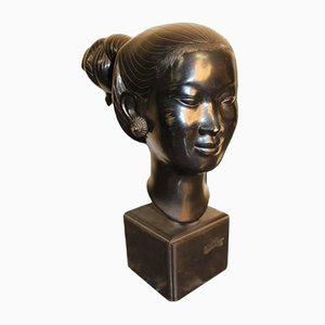 Vietnamese Bronze Head Sculpture, 1950s