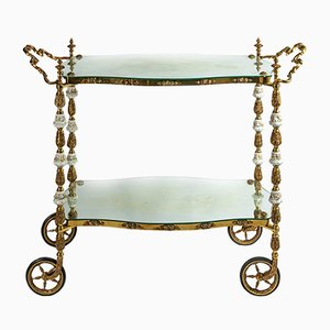 Antique Italian Handmade Bronze Serving Table with Capodimonte Porcelain