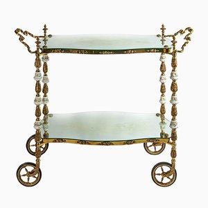 Mesa de servicio italiana antigua de bronce con porcelana Capodimonte hecha a mano
