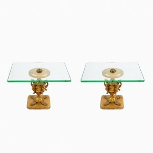 Italian Carved Wood and Glass Side Tables, 1950s, Set of 2