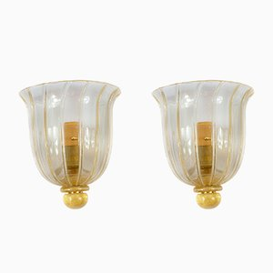 Murano Glass and Brass Wall Sconces, 1970s, Set of 2