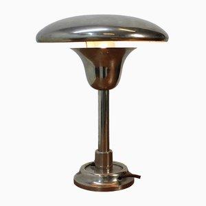 Lámpara de mesa Bauhaus de metal cromado, años 30