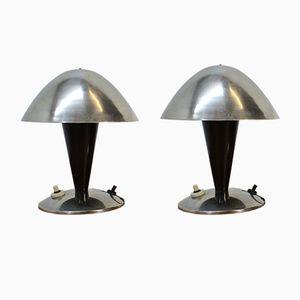 Lampes de Table Bauhaus en Chrome, 1930s, Set de 2