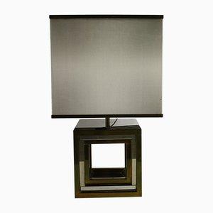 Lampada da tavolo in ottone e metallo cromato di Romeo Rega, anni '70