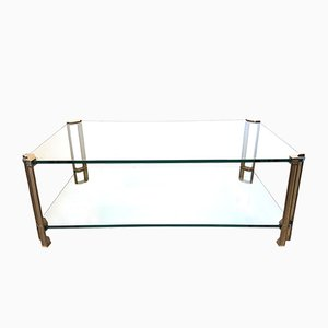 2 Tier Glass & Brass Coffee Table by Peter Ghyczy, 1970s