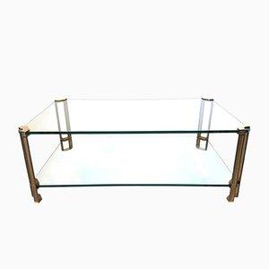 Table Basse à 2 Niveaux en Verre & Laiton par Peter Ghyczy, 1970s
