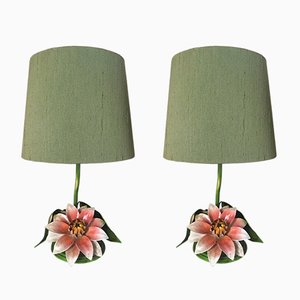 Mid-Century Flower Lamps, Set of 2