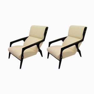 Mid-Century Italian Black and White Armchairs, 1950s, Set of 2