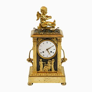 Antique French Empire Gilded Bronze Mantel Clock