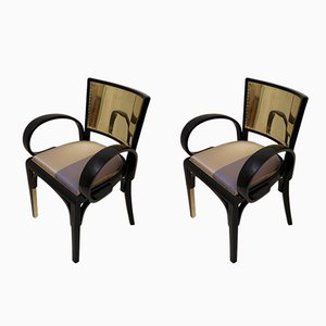 Art Deco Black Lacquer and Brass Italian Armchairs, 1920s, Set of 2
