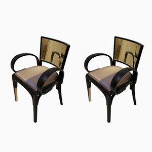 Italienische Art Deco Armlehnstühle aus schwarzem Lack & Messing, 1920er, 2er Set