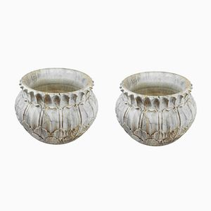 Large Handcrafted Marble Jardinieres, 1930s, Set of 2