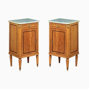 Antique Marble & Wood Nightstands, 1900s, Set of 2