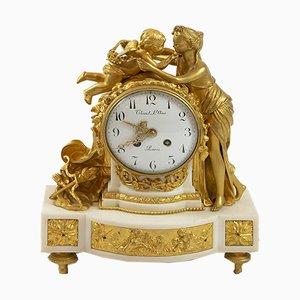 Horloge de Cheminée Louis XVI en Bronze Doré et Marbre, France, 19ème Siècle