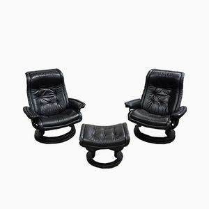 Vintage Sessel & Fußhocker von Ekornes, 1980er
