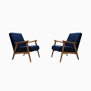Mid-Century Navy Blue Velvet Easy Chairs, 1960s, Set of 2