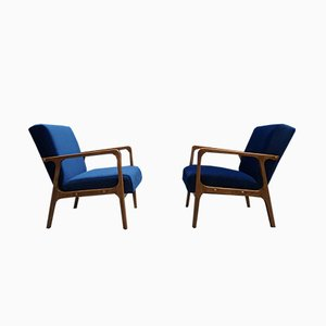 Mid-Century Navy Blue Velvet Lounge Chairs, 1960s, Set of 2