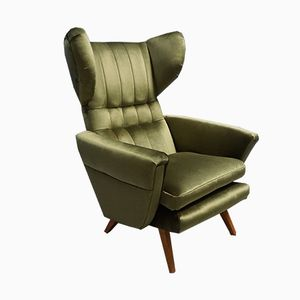 Large Mid-Century Green Velvet Lounge Chair, 1960s