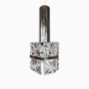 Vintage Hängelampe aus Kristallglas von Kinkeldey