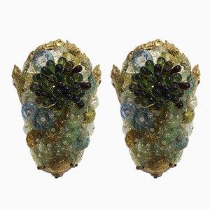 Apliques italianos de latón y cristal de Murano, años 50. Juego de 2