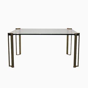 Table Basse Vintage en Laiton & Verre par Peter Ghyczy