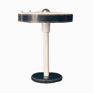 Lampada da tavolo modernista con dettagli in pelle nera, anni '60