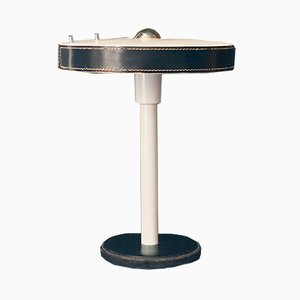 Modernist Table Lamp with Black Leather Details, 1960s
