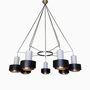 Large Mid-Century Chandelier with Satin Glass and Copper Shades