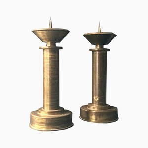 Vintage Bronze Candle Holders, 1930s, Set of 2