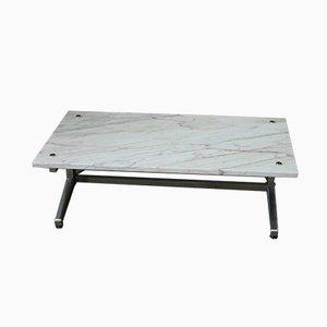 Tavolino da caffè vintage in metallo cromato e marmo, anni '70