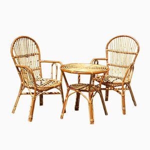 French Rattan Lounge Set, 1960s