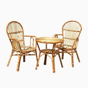 French Rattan Lounge Set, 1960s