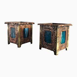Vienna Secession Copper and Brass Planters, 1900s, Set of 2
