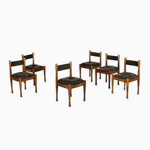 Beech & Leather Chairs by Silvio Coppola, 1960s, Set of 6