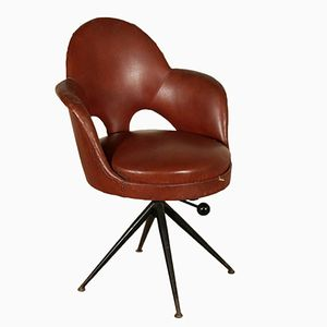 Vintage Italian Leatherette Swivel Armchair with Foam, 1960s
