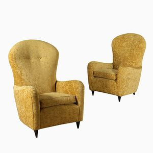 Vintage Italian Velvet Lounge Chairs, Set of 2