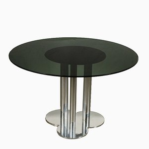 Chromed Metal & Smoked Glass Table by Sergio Asti for Poltronova, 1970s