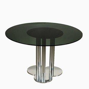 Tavolo in metallo cromato e vetro fumé di Sergio Asti per Poltronova, anni '70