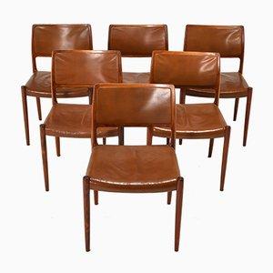 Modell 80 Esszimmerstühle aus Palisander von N.O. Møller für J.L. Møllers, 1950er, 6er Set