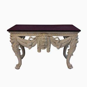 Grande Table Console Antique avec Plateau en Porphyre Massif