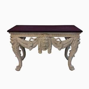 Large Antique Console Table with Solid Porphyry Top