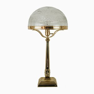 Viennese Art Nouveau Table Lamp with Original Cut Glass Shade, 1909