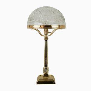 Wiener Jugendstil Tischlampe mit Originalschirm aus geschliffenem Glas, 1909