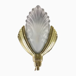 French Art Deco Brass Sconce, 1940s