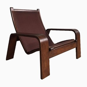 Leather & Mahogany Lounge Chair from Coja, 1970s
