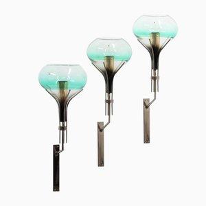 Lámparas de pared de cristal de Murano de Archimede Seguso, años 60. Juego de 3