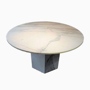 Mesa de comedor vintage de mármol blanco, años 80
