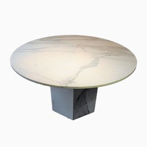 Vintage White Marble Dining Table, 1980s