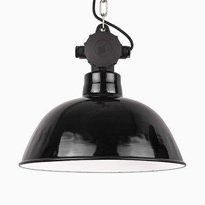Lampe à Suspension Industrielle Vintage en Émail Noir, Allemagne, 1960s