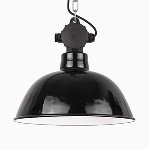 Vintage Industrial German Black Enamel Pendant Lamp from LBL Leuchtenbau Leipzig, 1960s